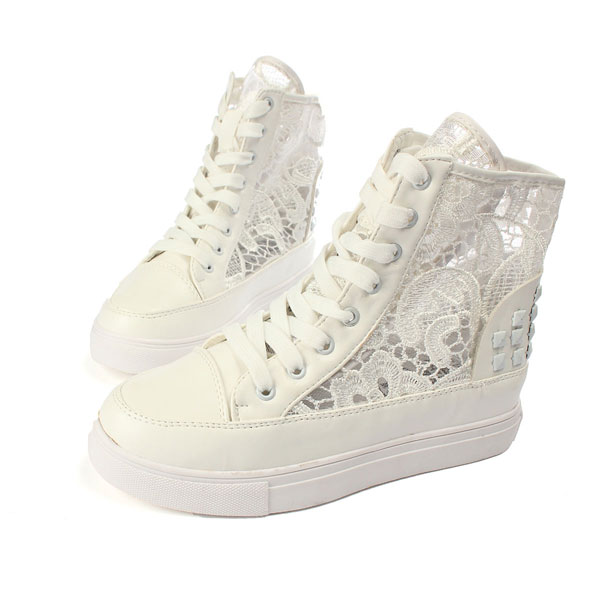 Lace Hollow Out Women Causal Sneaker Platform Canvas Shoes