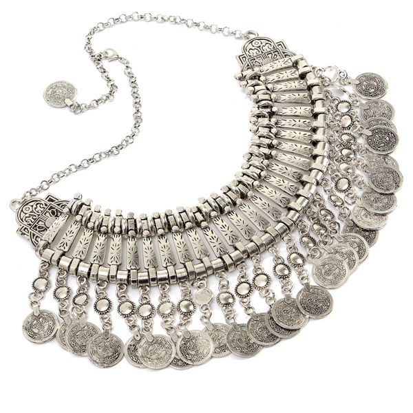 Alloy Choker Tassels Statement Necklace