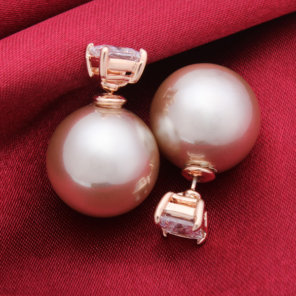 Pearl Zircon Stud Earrings