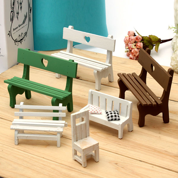 Mini Resin Bench Micro Landscape Decorations Garden DIY Decor