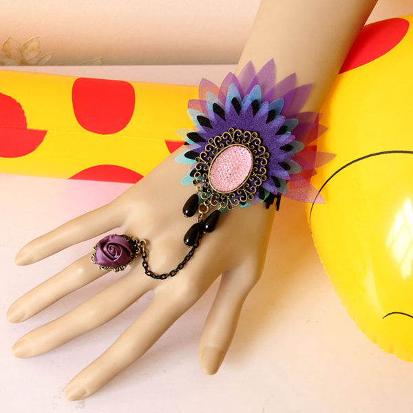 Flower Crystal Ring Bracelet