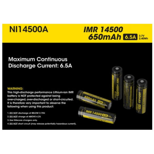 Nitecore IMR14500 650mAh 6.5A Rechargeable Li-Mn Battery - nitecoreBattery And Case <br>Specification: Product name: Nitecore IMR14500 Li-Mn Battery Brand: Nitecore Model: NI14500 Maximun Continuous Discharge Current: 6.5A Capacity: 650mAh Volyage: 3.7v Please note: This high-discharge performance Lithium Manganese IMR button top battery is NOT protected against being over-charged, over-discharged or short circuited. It is therefore very important to observe the following when using these cells: 1) Do not discharge below 2.75V 2) Do not charge over 4.2V 3) Use with Nitecore Chargers 4) Do not short circuit (may release potentially hazardous current) Package included: 1 x Nitecore IMR14500 Li-Mn Battery<br>