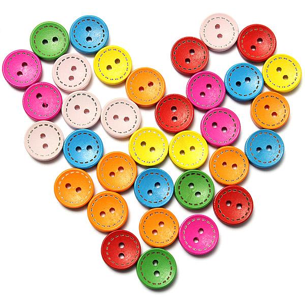 100pcs Mixed Round Wooden Children Garment Sewing Buttons