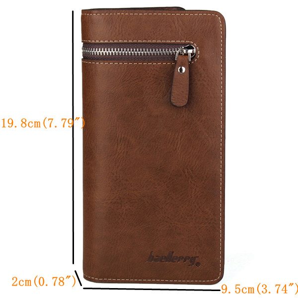 Men Bifold Zipper Long Clutch Wallet Money Clip Pockets Card Holder