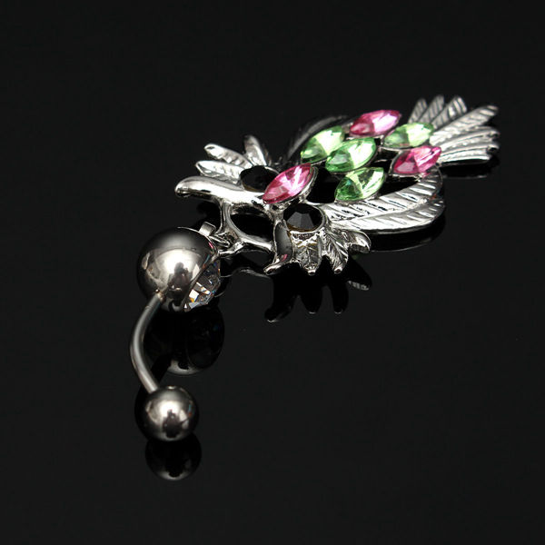 Rhinestone Owl Navel Ring