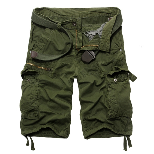 Mens Casual Solid Cotton Multi-pockets large Size Cargo Short Pants