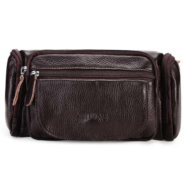 Genuine Leather Cowhide Men Waist Sports Bag Outdoor Travel Belt Wallet