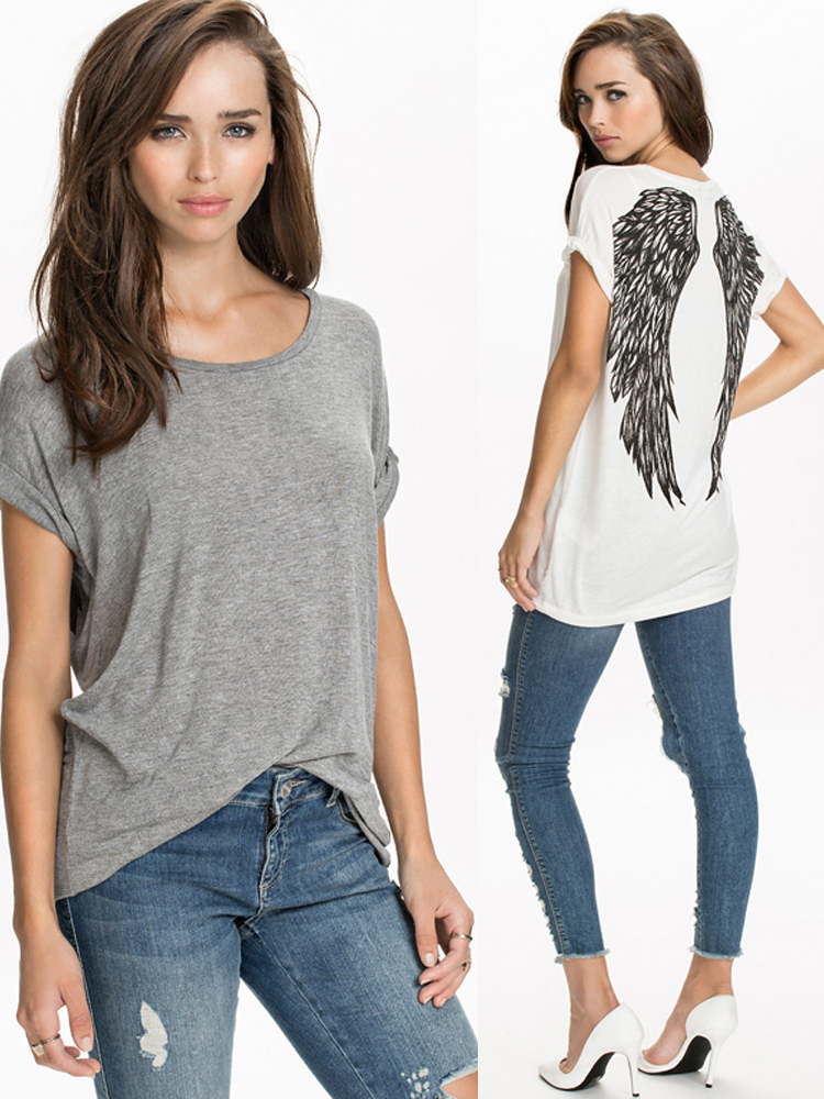 Casual Women Loose Back Angle Wings Short Sleeve T-shirt - EachineT-Shirts<br>Size Table: Type M L XL XXL Bust 106cm(41.73) 110cm(43.31) 114cm(44.88) 118cm(46.46) Sleeve Length 26cm(10.24) 27cm(10.63) 28cm(11.02) 28cm(11.02) Length 77cm(30.31) 78cm(30.71) 80cm(31.5) 82cm(32.28) Manual measurement, some errors may exist. Package included: 1*T-shirt More details: Disclaimer : About Size:Size may be 2cm/1 inch inaccuracy due to hand measure.These measurements are meant as a guide to help you select the correct size. Please take your own measurements and choose your size accordingly.we cannot accept responsibility for incorrect purchases. About Color:The precise color of the clothing items may vary depending on the specific monitor,the settings and the lighting conditions.The items colors depicted should only be used as an approximate guide About Review: 1. we try to make sure you have a pleasant shopping experience with us, so that we could do more business with you. If there is any dissatisfaction, please email us before leaving any 1 or 2 ratings, negative feedback . We will try our best to resolve the issues. Please give us the opportunity to resolve any problem. 2. If you are satisfied with our service, please leave us a 5 star positive feedback. Your recognition will make us more confident to develop business and serve you better.<br>