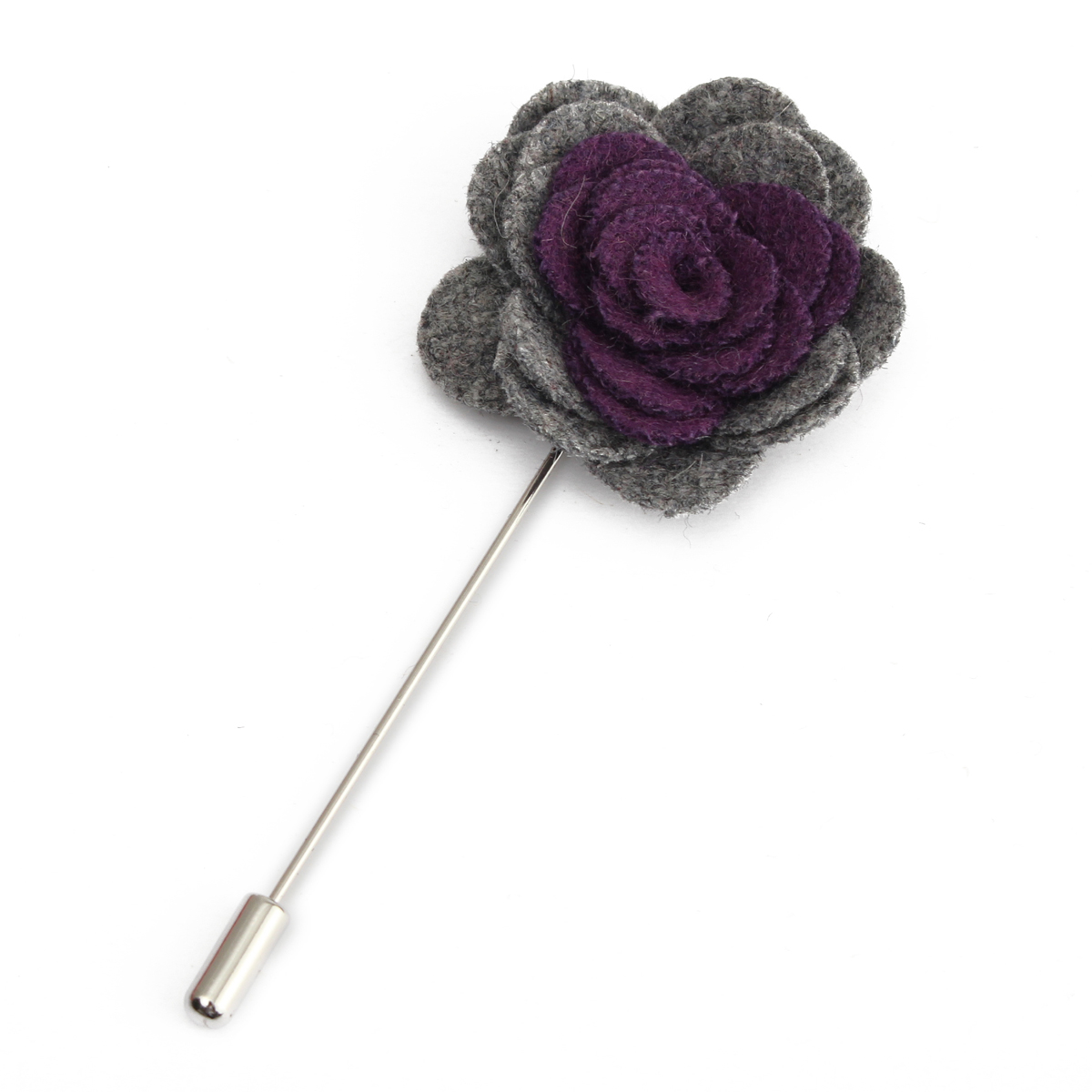 1X Men's Lapel Flower Rose Mixed Color Handmade Boutonniere Stick Brooch Pin