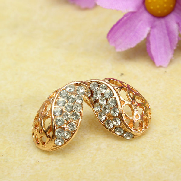 Hollow Rhinestone Stud Earrings