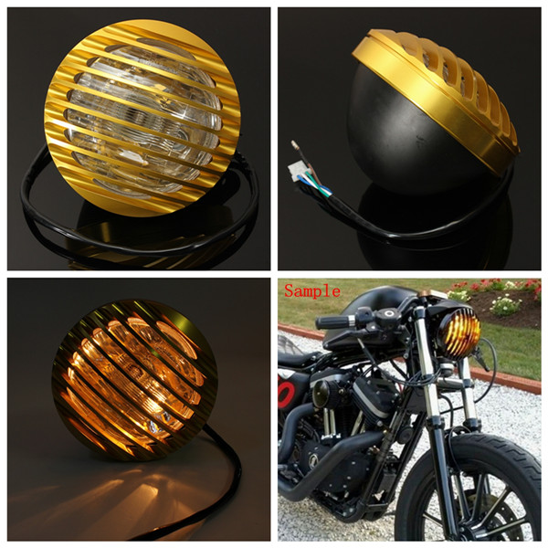 6inch Golden Motorcycle Autocycle Autobike Halogen Headlight Light For Harley