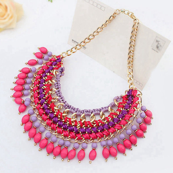 Tassel Beaded Statement Necklace