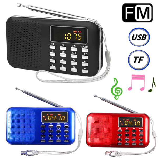 Mini Portable LCD Digital FM Radio Speaker USB Micro SD TF Card Mp3 Music Player abs three horn multimedia bluetooth wireless portable speaker super bass with usb tf aux fm radio sealed woody box wholesale