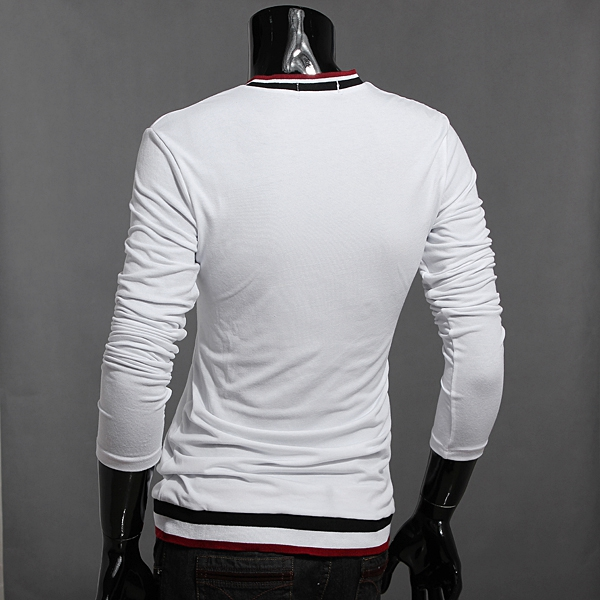 Fahion Collar Decoration V-neck Men Long Sleeve Slim T-shirt