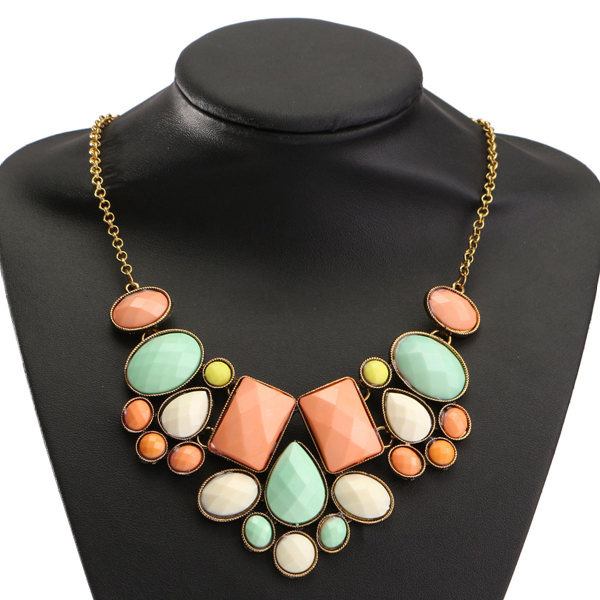 Retro Geometric Bubble Resin Statement Choker Necklace Vintage Jewelry