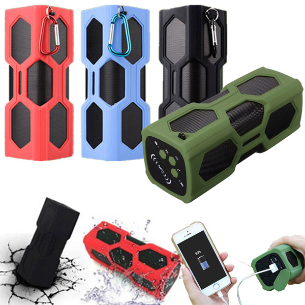 NFC Waterproof Bluetooth 4.0 Super Bass Speaker Portable 3600mAh Power Bank fashion nfc bluetooth speaker outdoor wireless usb waterproof stereo loudspeakers super bass speakers musics play for phone