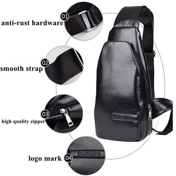 Casual Leather Men Sport Single Shoulder Messenger Chest Bags