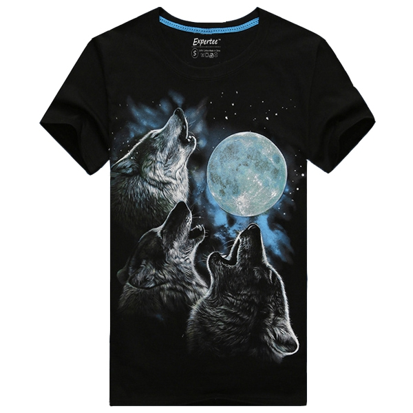 Men Cotton Blended 3D Printed Noctilucent Wolf Short Sleeve T-shirt