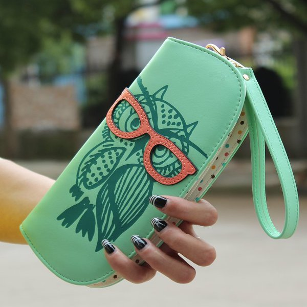 Cute Owl Glasses Women Wallet Contrast Color Printing Long Clutch Card Holders