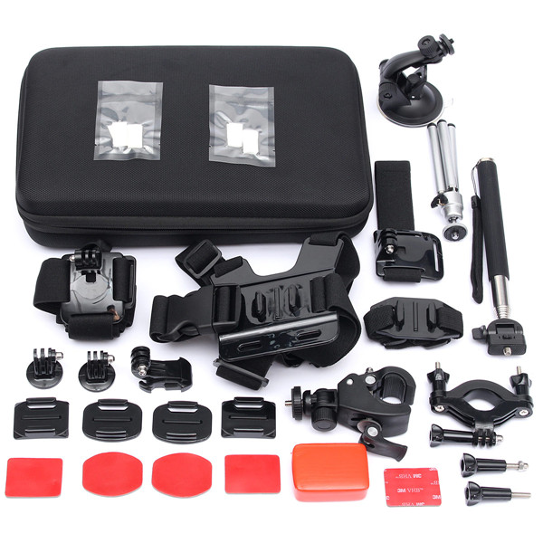 15 In 1 Outdoor Accessories Set Kit With Carry Bag For GoPro Hero 2 3 3 Plus 4 Xiaomi Yi Camera SJ4000 SJ5000 SJcam side mount curved adhesive mount 3 way pivot set for gopro hero 3 2 1