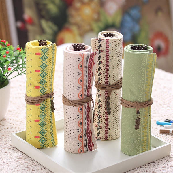 Roll Flower Floral Pen Pouch Holder Pencil Case Pen Bag - EachineDesk Organizers &amp; Accessories<br>Description: Material:Canvas Color:Light green,Yellow,Creamy white,Beige(choose your like) Size:25X20cm/9.84X7.87(appr.) Features Made of high quality cotton linen material,durable. It not only can put pencil,but also can put cosmetics brush. Fresh flower pattern can make you good mood. Design with rope,it will not broken easily. Package Included: 1 x Pencil Case<br>