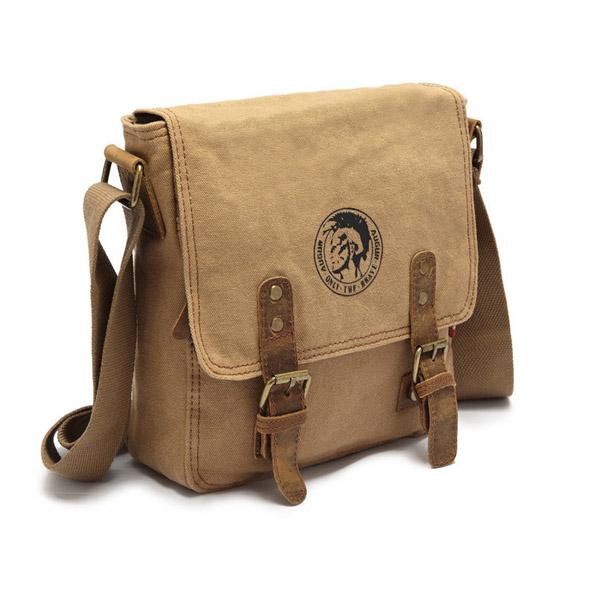 Men Women Retro Canvas Outdoor Buckle Travel Shoulder Messenger Crossbody Bag