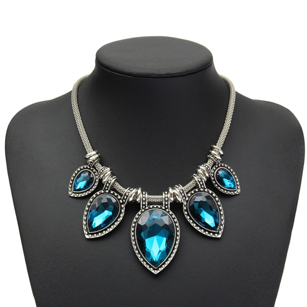 Charm Waterdrop Teardrop Crystal Bib Statement Necklace For Women - EachineStatement Necklaces<br>Description: Type: Waterdrop Crystal Necklace Material: Alloy, Crystal Gender: Women Patterns: Waterdrop Total Length: App 43cm Weight: App 73g Package Includes: 1 X Necklace Note: 1.Due to the difference between different monitors, the picture may not reflect the actual color of the item. Please consider this before the purchase. 2.Please allow slight deviation for the measurement data.<br>
