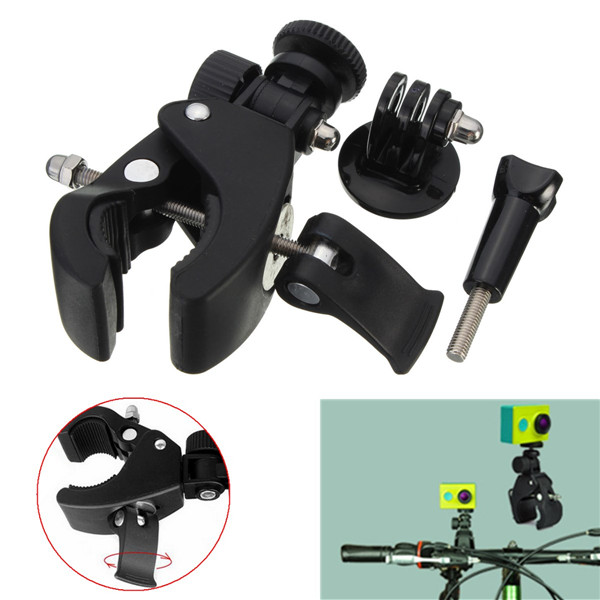 Bike Handlebar Clamp Roll Bar Mount With Mount Adapter For Gopro Hero 2 3 3 Plus 4 XiaoMi Yi SJ4000 SJ5000 SJcam gopro accessories head belt strap mount adjustable elastic for gopro hero 4 3 2 1 sjcam xiaomi yi camera vp202 free shipping