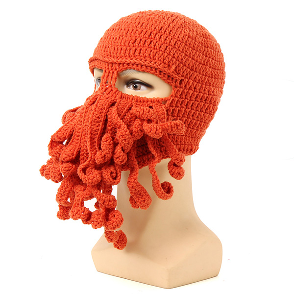... Warm Knitted Crochet Wool Ski Face Mask Octopus Squid Cap Beanie Hat