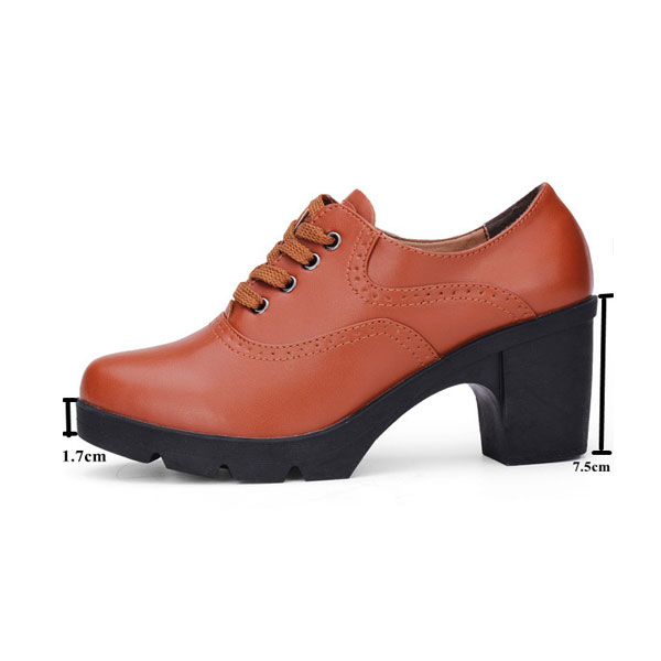 Women Genuine Leather High Heels Shoes Thick Heels Lace Up Women Pumps