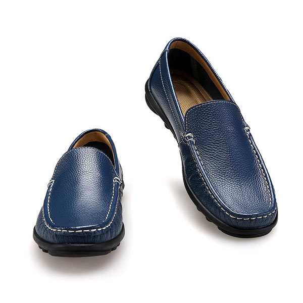 Mens Casual Flats Genuine Cowhide Leather Moccasin Loafers