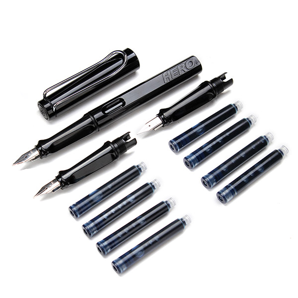 Black Hero 359 Fountain Pen Set 3 Pen Nibs 8 Ink Cartridge Refills