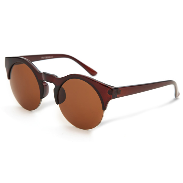 2015 UV400 Women Sunglasses Half Frame Round Wooden Imitation Glasses