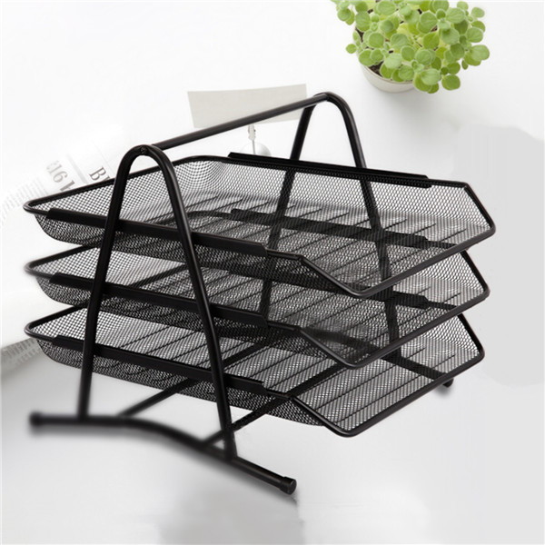 3 Tier Office Barbed Wire File Tray Mesh Desk Tray Organizer Shelf Letter Storage | Banggood