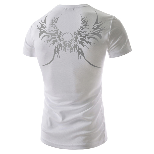 Men Summer Cotton Blended Mesh Totem Printed O-neck Short Sleeve T-shirt