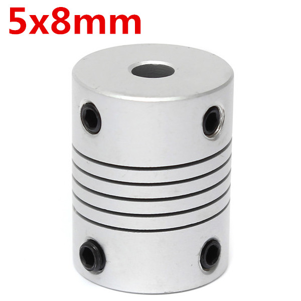5mm x 8mm Aluminum Flexible Shaft Coupling OD19mm x L25mm CNC Stepper Motor Coupler Connector