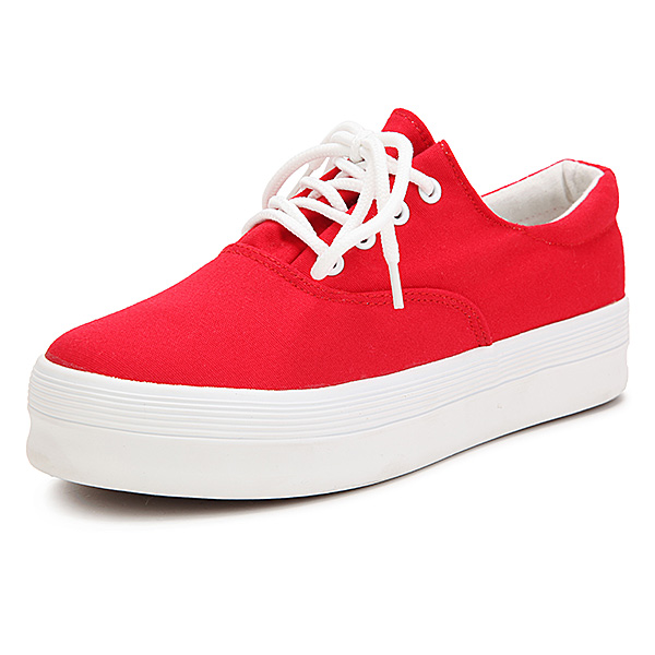 New Low Platform Women Casual Flat Heel Sneakers Lace Up Sport Canvas Shoes cresfimix sapatos femininas women casual size 35 to 50 flat shoes lady cute spring