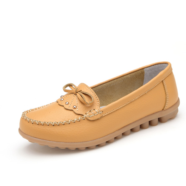 Фото Women Casual Leather Shoes Colors Round Toe Flats Slip On Leather Loafers