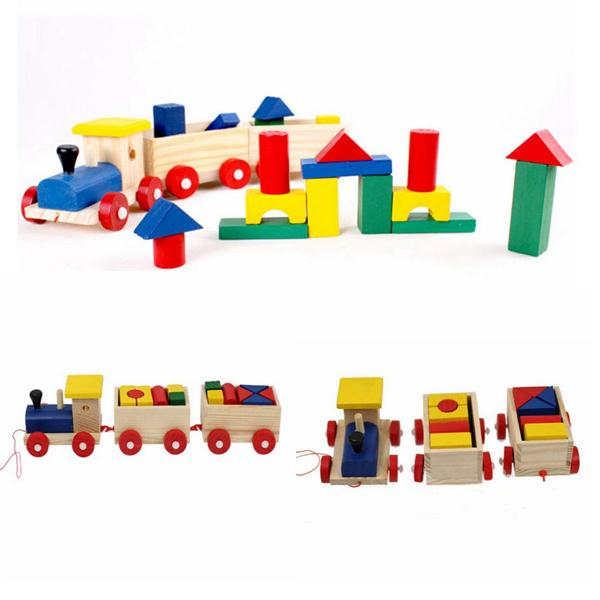 Buy Kids Baby Wooden Railway Train Stacking Sorting Educational Developmental Building Blocks Toys