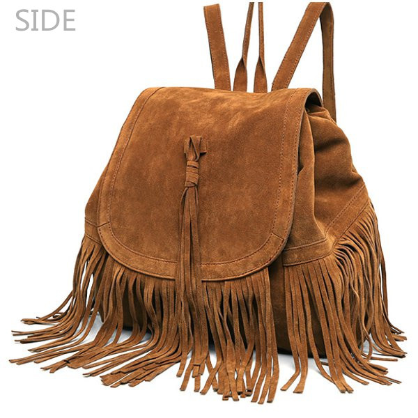 Side View Of Casual Tassel Drawstring Backpack