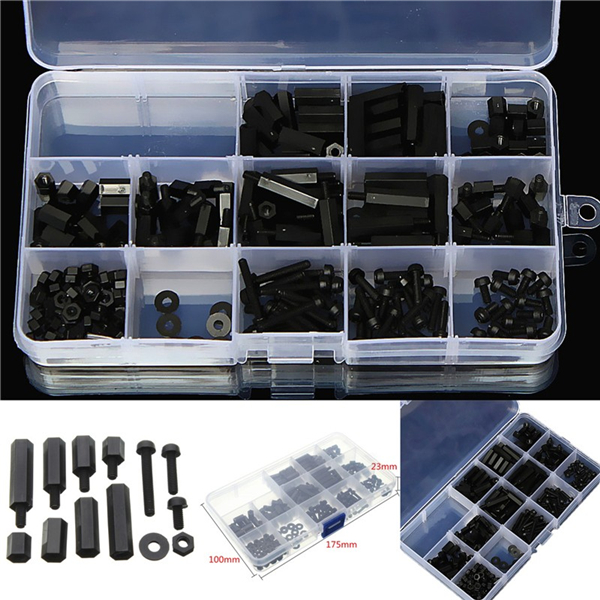 260pcs M3 Nylon Black Hex Screw Nut M-F Stand-off Set Assortment Kit Box аксессуар telecom toslink m 1 5m toc2020 1 5m