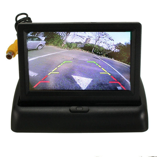 Car Wireless IR Rearview Backup Reversing Camera Kit Foldable LCD 4.3 Inch Monitor auto vox universal 4 3 inch lcd wireless rear view car monitor with mirror kit night vision waterproof hd wide angle backup camera easy install for diy