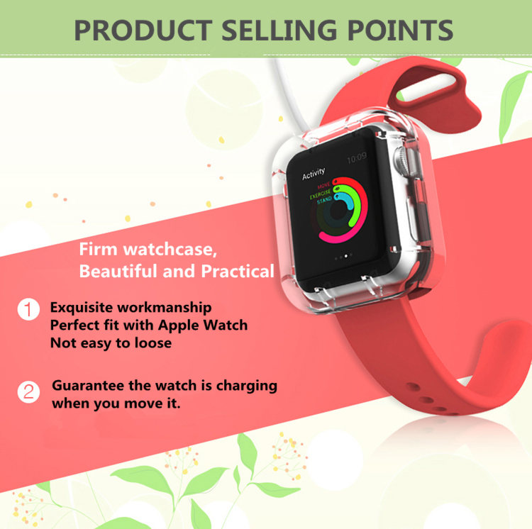 VCOER 38mm Portable Charging Protective Case Charging Stand Holder For Apple Watch