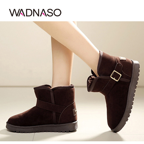 WADNASO Women Winter New Ankle Short Boots Keep Warm Slip-on Plush Cotton Snow Boots Shoes