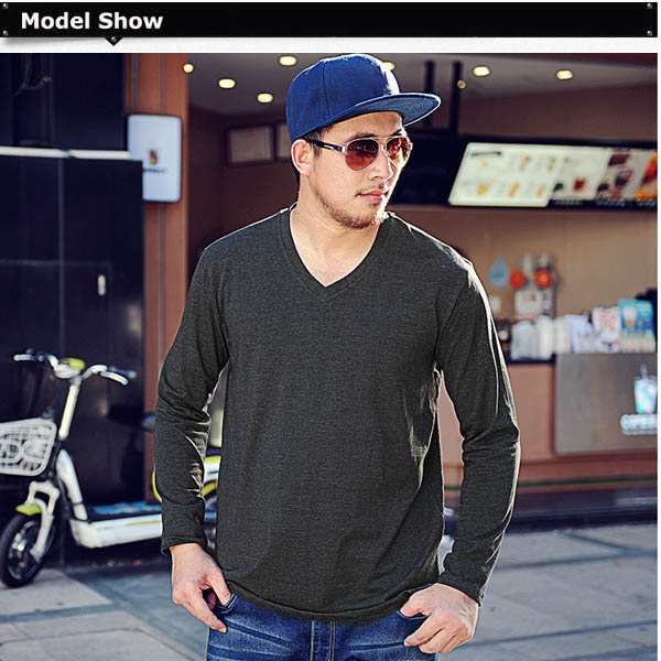 Mens Thicken V Neck Tshirts Loose Large Size Long Sleeve Plain T Shirts