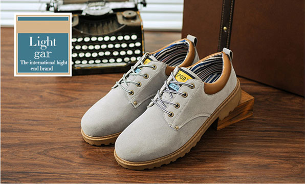 New Men Fashion Low Top Casual Breathable Wearproof PU Short Boots Shoes