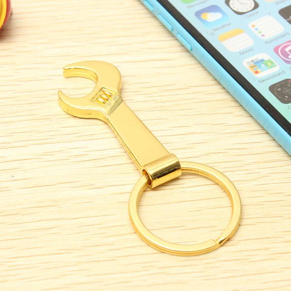 creative gold metal wrench bottle opener keyring spanner keychain key fob gift alex nld. Black Bedroom Furniture Sets. Home Design Ideas