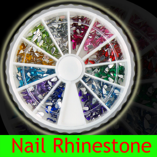 12 colors Nail Art Tear Drop Rhinestones Glitters 2.0mm
