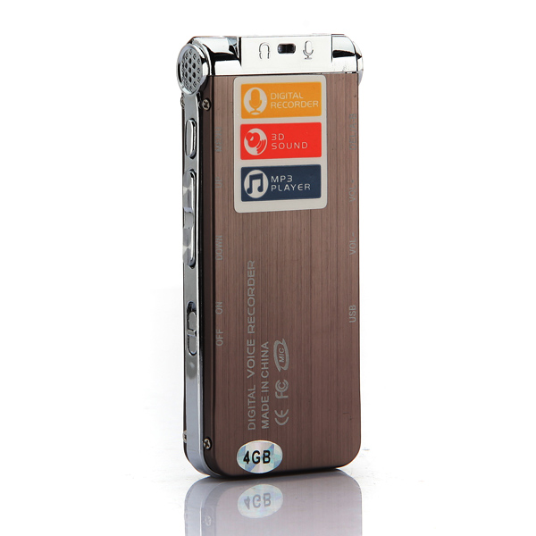 Steel 4GB Digital Sound Audio Voice Recorder Dictaphone MP3 Player Rechargeable