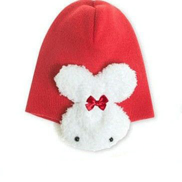 Lovely Infant Baby Rabbit Winter Warm Knit Hat Cap Beanie Red